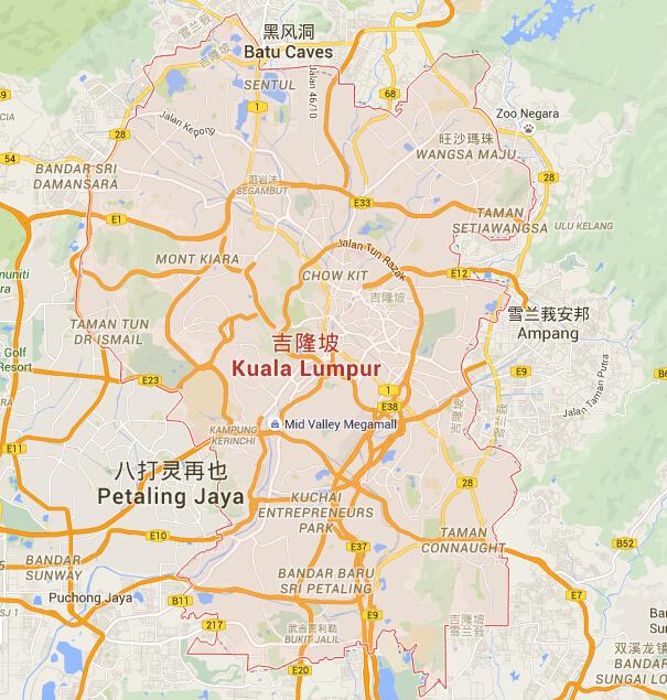 吉隆坡地图 吉隆坡地图中文版 吉隆坡旅游地图图片