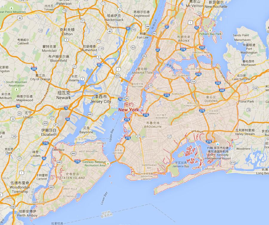 纽约地图 纽约地图中文版