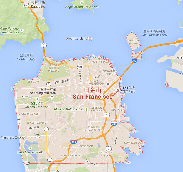 旧金山地图_旧金山地图中文版