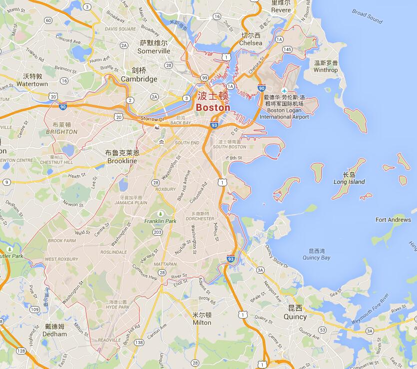 波士顿地图_波士顿地图中文版_波士顿旅游地图_中国