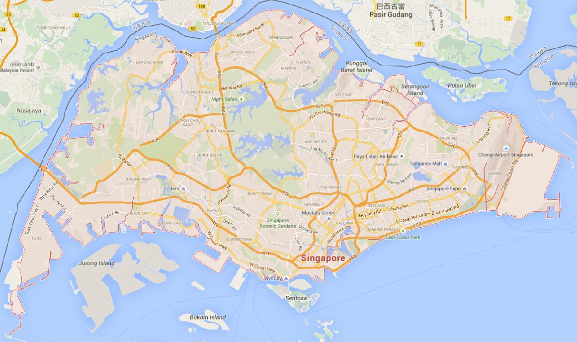 新加坡市地图 新加坡市地图中文版 新加坡市旅游地图